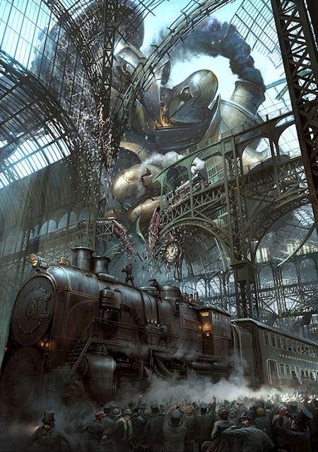 A giant steampunk robot attacking a train