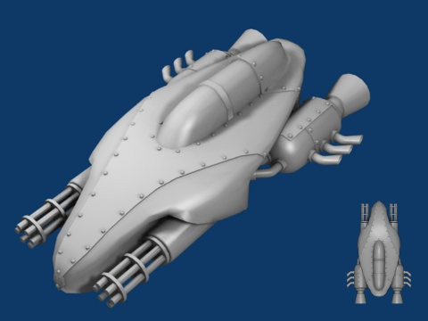 3d view and 2d sprite of player ship version 2