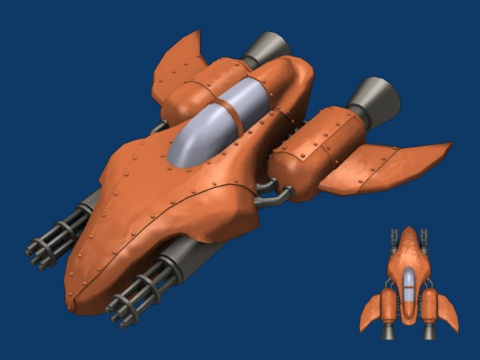 3d view and 2d sprite of arcade player ship in final version